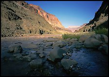 Bottom of Grand Canyon with Tapeats Creek joining  Colorado River. Grand Canyon National Park, Arizona, USA. (color)