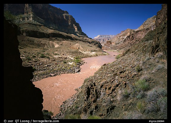 Colorado River and rock walls near Tapeats Creek. Grand Canyon  National Park (color)