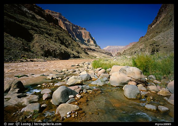 Confluence of Tapeats Creek and  Colorado River in autumn. Grand Canyon National Park (color)
