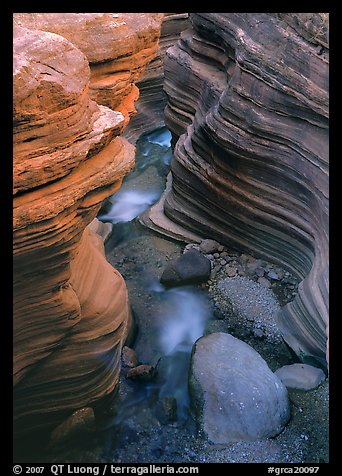 Red sandstone gorge carved by Deer Creek. Grand Canyon  National Park (color)
