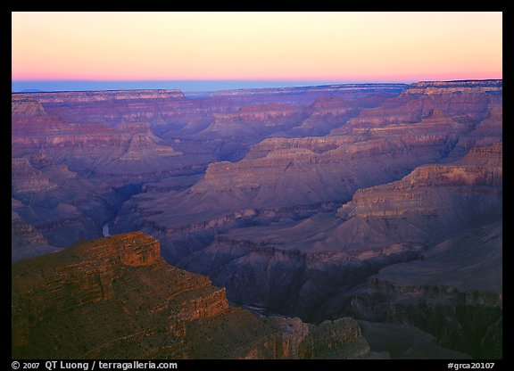Ridges at dawn from Hopi Point. Grand Canyon  National Park (color)