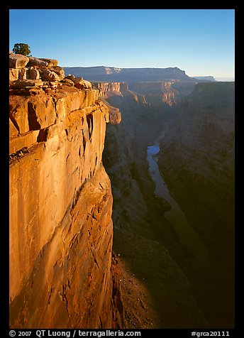 Cliff and Colorado River from Toroweap, sunrise. Grand Canyon  National Park (color)