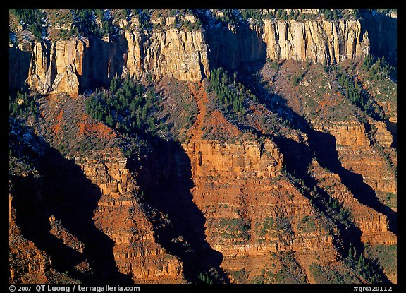 Canyon walls from Bright Angel Point, sunrise. Grand Canyon National Park (color)