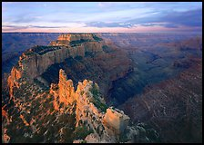 View of Wotans Throne from Cape Royal at sunrise. Grand Canyon National Park ( color)