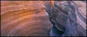 Sculptured rock in slot canyon. Grand Canyon National Park (Panoramic color)