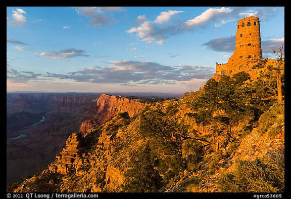 Indian Watchtower and canyon at sunset. Grand Canyon National Park (color)