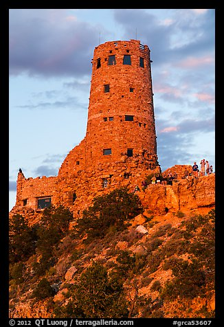 Desert watchtower with tourists at sunset. Grand Canyon National Park (color)