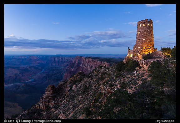 Watchtower and Desert View at dusk. Grand Canyon National Park (color)