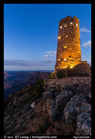 Indian Watchtower at Desert View, dusk. Grand Canyon National Park (color)