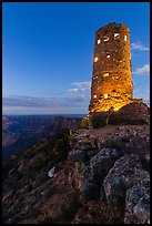Indian Watchtower at Desert View, dusk. Grand Canyon National Park, Arizona, USA. (color)