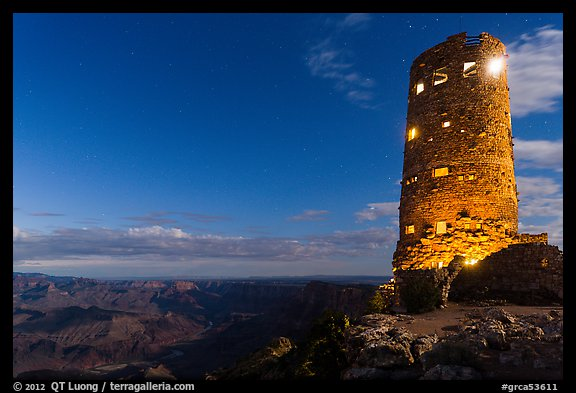 Desert View Watchtower at night. Grand Canyon National Park (color)