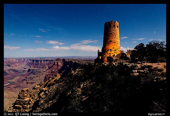 Desert View Watchtower and moonlit canyon. Grand Canyon National Park (color)