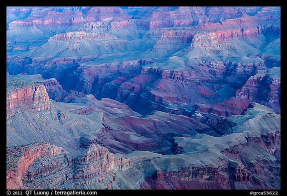 Colorado river gorge and buttes at dawn. Grand Canyon National Park (color)