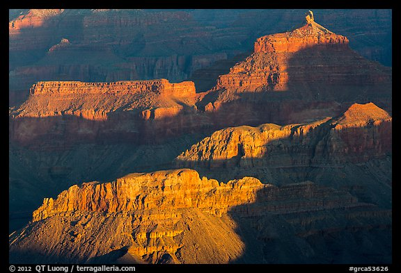 Shadows and ridges from Moran Point. Grand Canyon National Park (color)