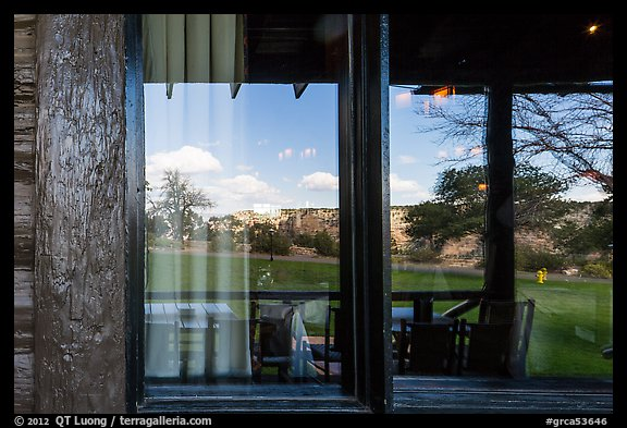 South Rim, El Tovar Hotel restaurant window reflexion. Grand Canyon National Park (color)