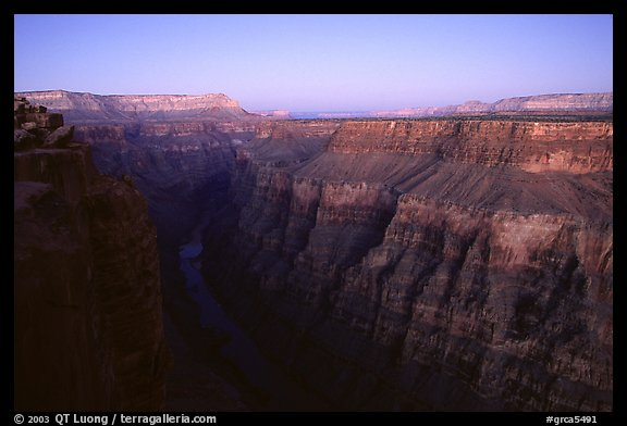 Narrow gorge of  Colorado River at Toroweap, dusk. Grand Canyon National Park (color)
