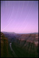 Star trails and narrow gorge of  Colorado River at Toroweap. Grand Canyon National Park, Arizona, USA. (color)