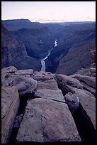 Cracks and Colorado River at Toroweap, dusk. Grand Canyon National Park ( color)