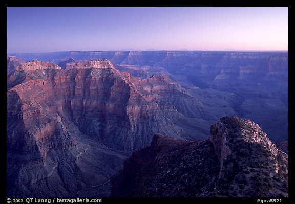 View from Point Sublime, dusk. Grand Canyon National Park (color)