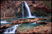 Travertine formations and Havasu falls. Grand Canyon National Park, Arizona, USA. (color)