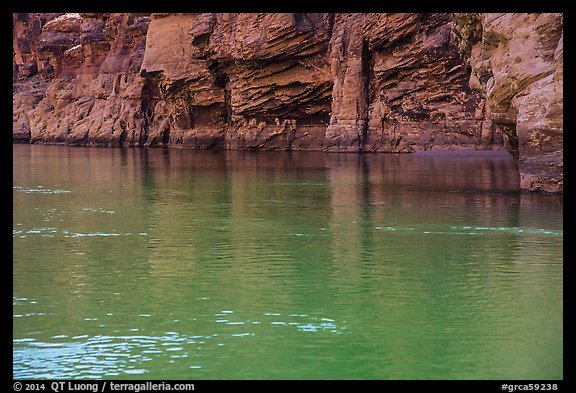 Redwall limestone reflected in green waters, Colorado River. Grand Canyon National Park (color)