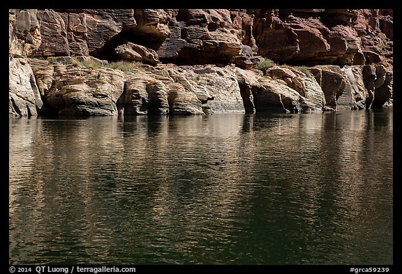 Cliff and reflection, Colorado River. Grand Canyon National Park (color)