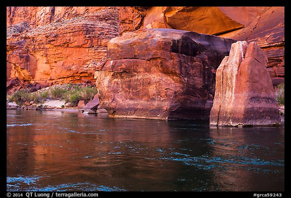 Red rocks and reflections in Colorado River. Grand Canyon National Park (color)