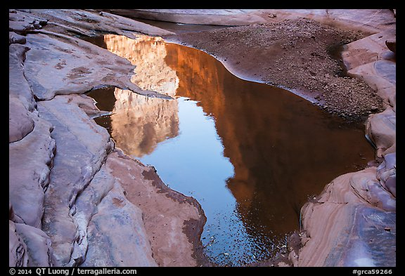 Cliffs reflected in pool, North Canyon. Grand Canyon National Park (color)