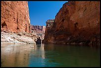 River-level view of redwall limestone canyon walls dropping straight into Colorado River. Grand Canyon National Park ( color)