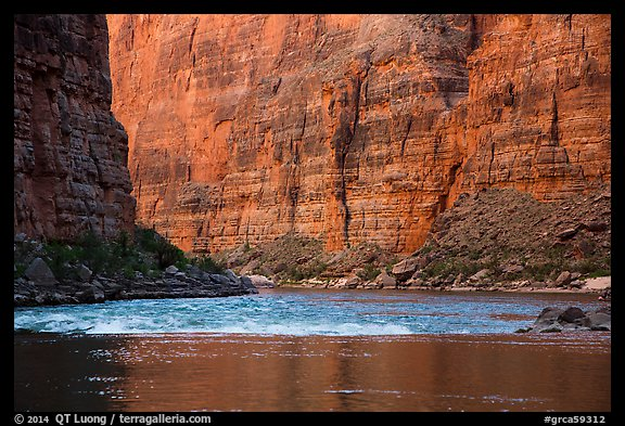Glassy river and rapids below Redwall limestone canyon walls. Grand Canyon National Park (color)