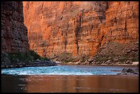 Glassy river and rapids below Redwall limestone canyon walls. Grand Canyon National Park ( color)