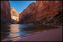 River beach and Redwall canyon walls, Marble Canyon. Grand Canyon National Park ( color)