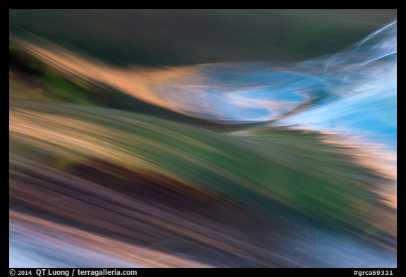 Detail of rapids with reflections of sky and canyon walls. Grand Canyon National Park (color)