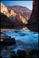 Rapids, reflections, and cliffs, early morning, Marble Canyon. Grand Canyon National Park ( color)