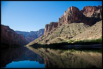 Buttes and glassy reflections in Colorado River. Grand Canyon National Park ( color)