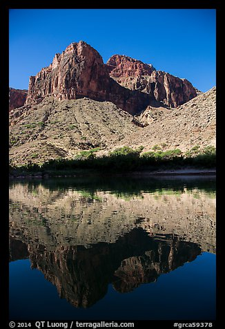 Buttes and reflections in Colorado River. Grand Canyon National Park (color)