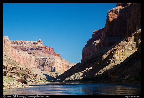 Cliffs, shadows, blue water and sky, Marble Canyon. Grand Canyon National Park (color)
