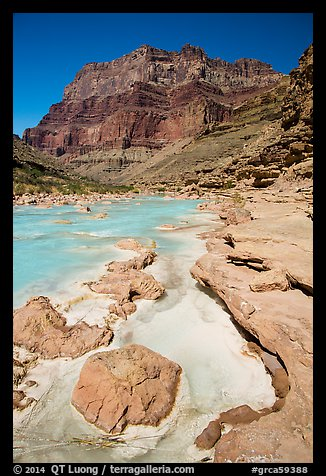 Little Colorodo River with turqouise waters in the spring below Chuar Butte. Grand Canyon National Park (color)