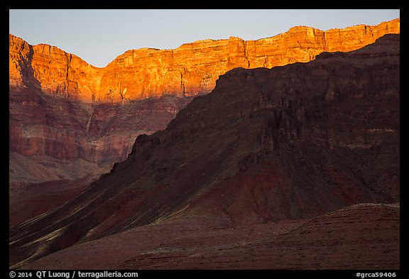 Last light illuminates cliffs of South Rim. Grand Canyon National Park (color)