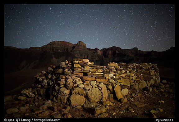 Ancient ruin and South Rim at night. Grand Canyon National Park (color)