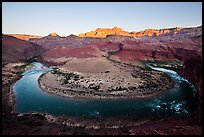 Colorado River bend at Unkar Rapids, sunrise. Grand Canyon National Park ( color)