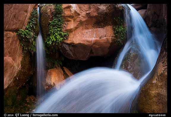 Double spouted waterfall, Clear Creek. Grand Canyon National Park (color)