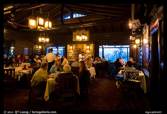 Dining room in evening, El Tovar. Grand Canyon National Park (color)