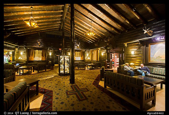 Main lobby, El Tovar. Grand Canyon National Park (color)