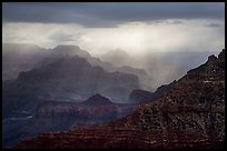 Canyon ridges with dramatic clouds and sunrays. Grand Canyon National Park ( color)
