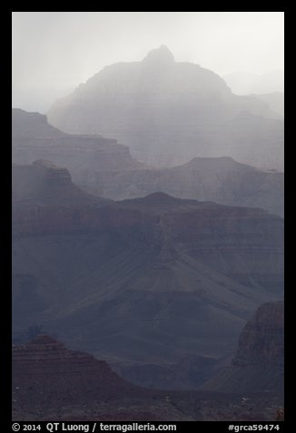 Backlit canyon ridges. Grand Canyon National Park (color)