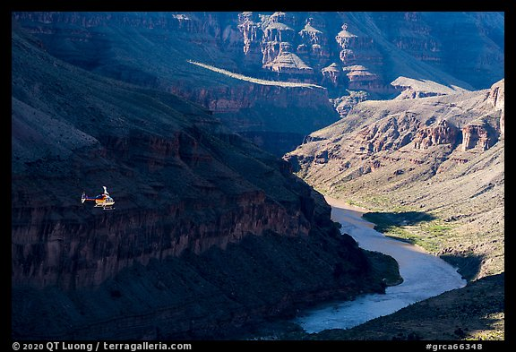Helicopter over Grand Canyon, Whitmore Wash. Grand Canyon National Park (color)