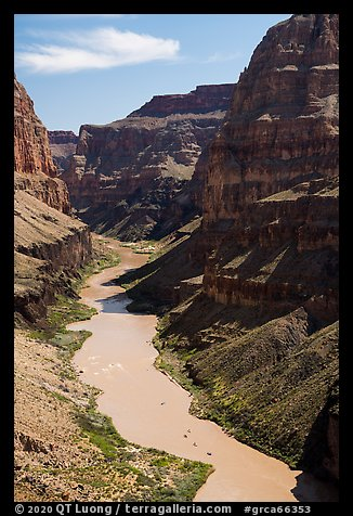 Colorado River with rafts, Whitmore Wash. Grand Canyon National Park (color)