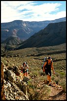 Backpackers in Surprise Valley, Thunder River and Deer Creek trail. Grand Canyon National Park, Arizona, USA. (color)