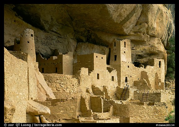 Ancestral pueblan dwellings in Cliff Palace. Mesa Verde National Park (color)